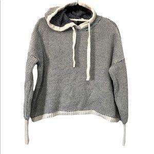 Rachel Zoe Cotton Knit Cropped Slouchy Hoody, L